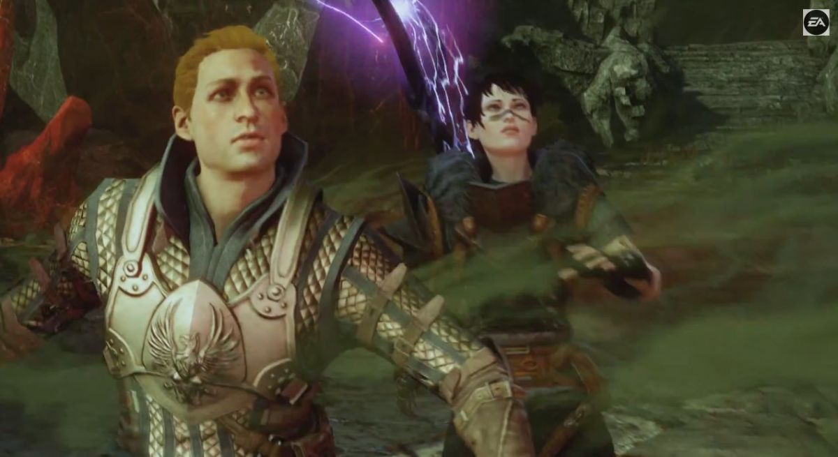 """Hawke and Alistair in the Fade in """"Dragon Age: Inquisition."""""""