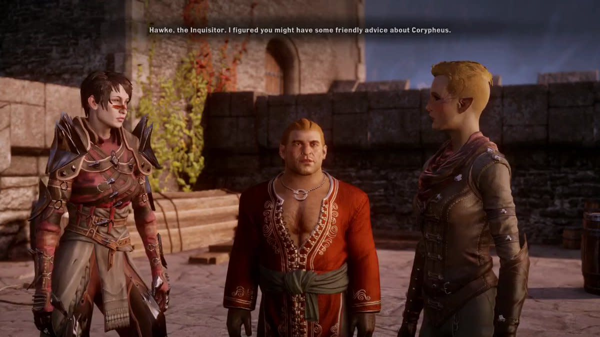 """Hawke meets the Inquisitor in """"Dragon Age: Inquisition."""" One of the most iconic moments in the series."""