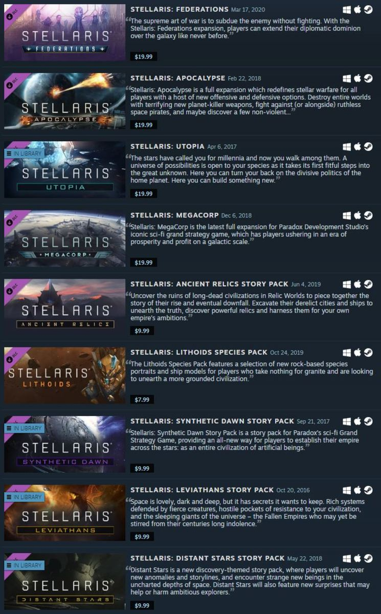 This is just part of the massive list of DLC for Stellaris.