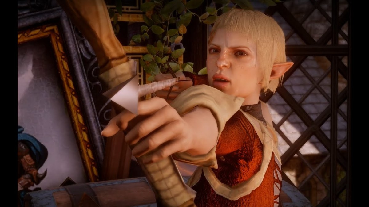 Sera points a weapon at the Inquisitor's face. Totally not abuse.