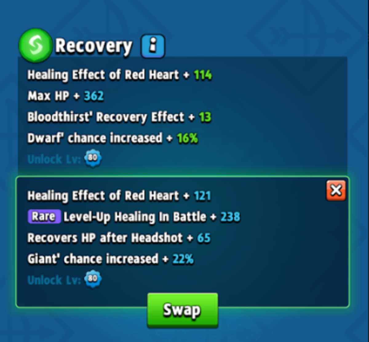 After forging, you can choose to swap in the new stats to replace your old ones, or hit the red X button to keep your old stats.