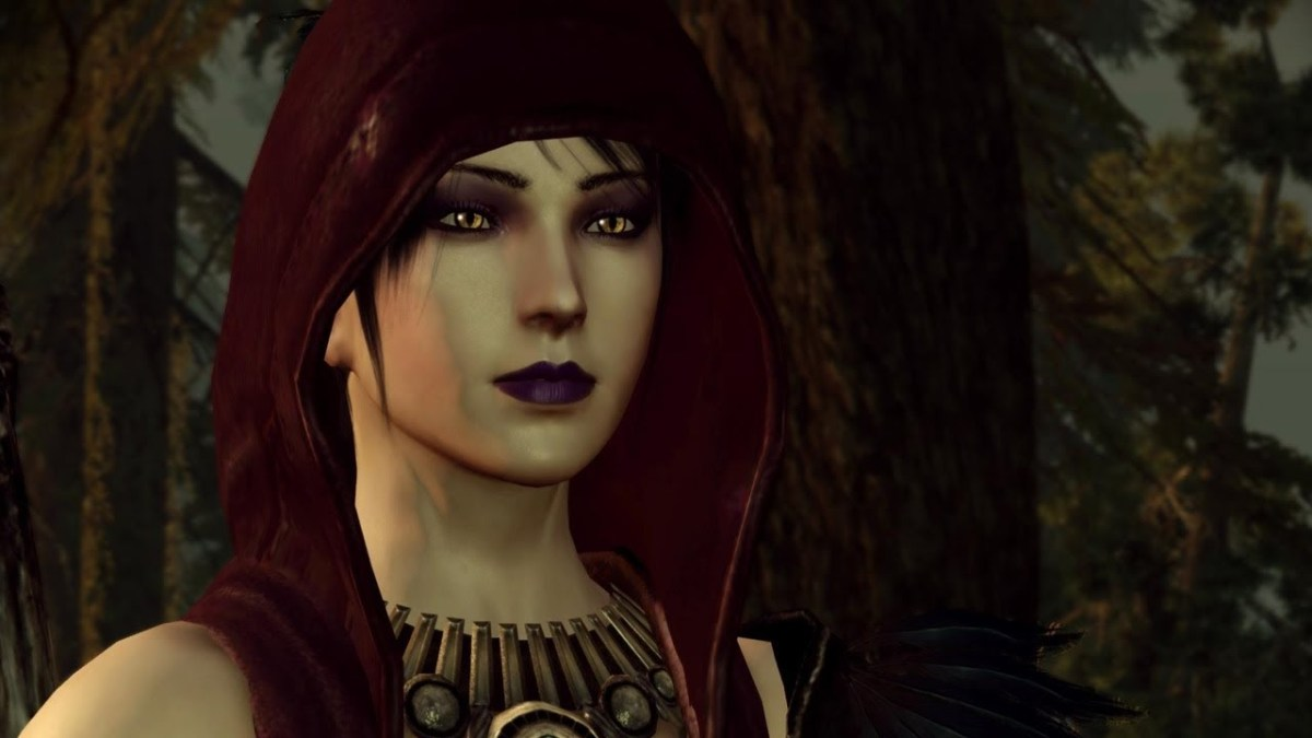 "Morrigan as she appeared with her concept hood in ""Origins."""