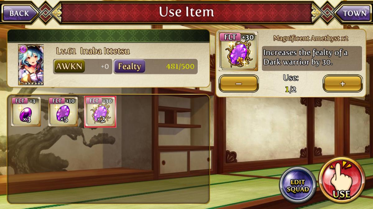 You can use gems to increase a warrior's fealty.