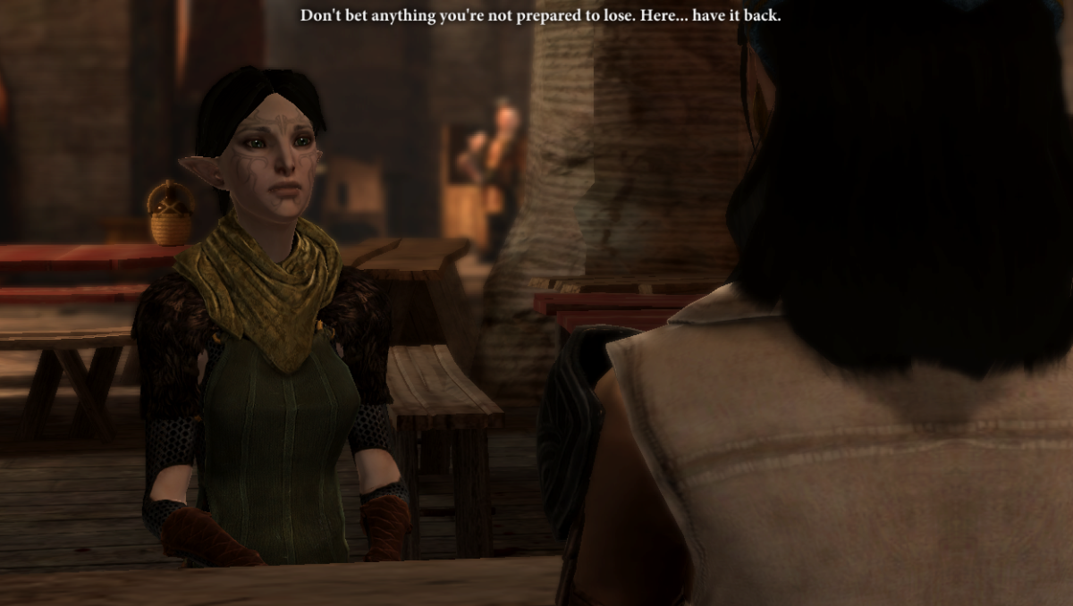 My screenshot of Merrill and Isabela playing cards. I used a mod to change Merrill's face.