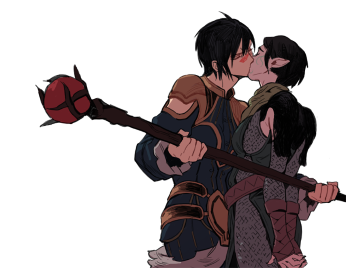 Cute fan art of Marian Hawke and Merrill.
