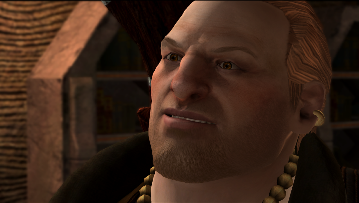 Varric apologizing to Hawke.