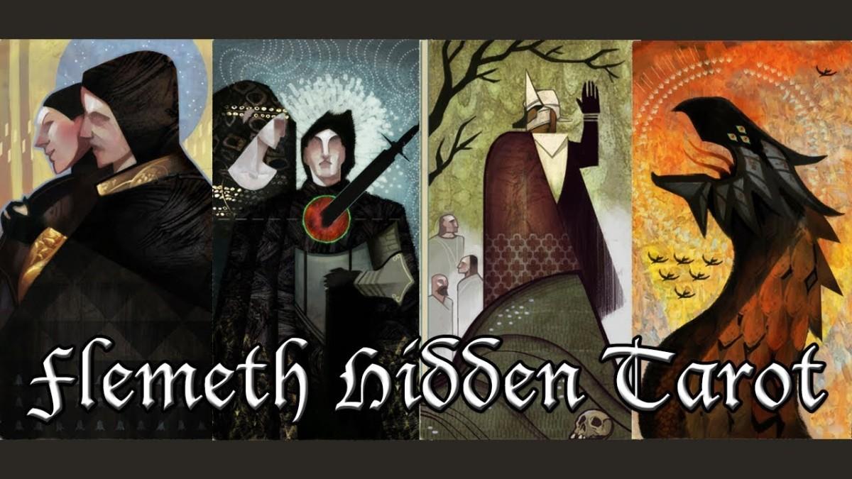 "Flemeth's hidden tarot cards from ""Inquisition."""