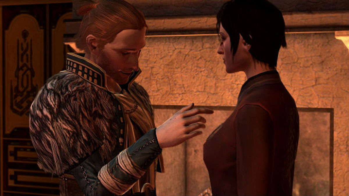 Anders touches Hawke's face.