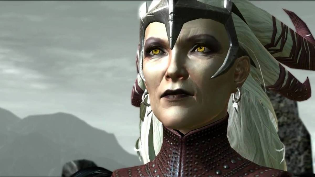 "Flemeth appearing to save Hawke in ""Dragon Age 2."""