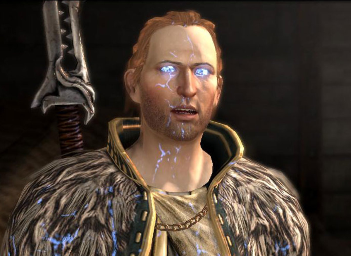 "Anders possessed by Justice in ""Dragon Age 2."""