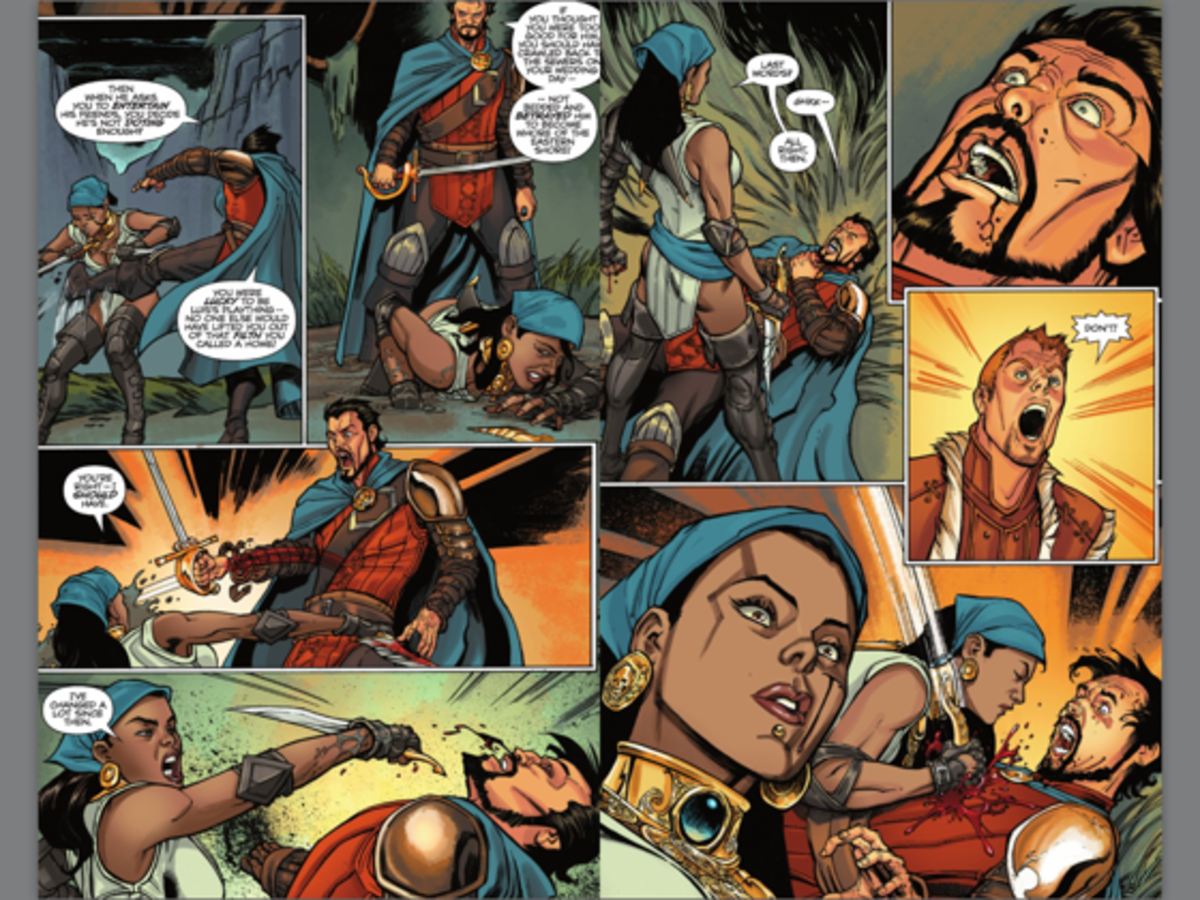 "Isabela gets beaten in ""The Silent Grove""  #5, on the cover of which she was white-washed."