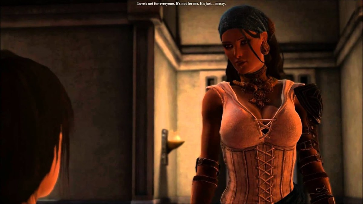 Isabela warns Hawke not to fall in love.