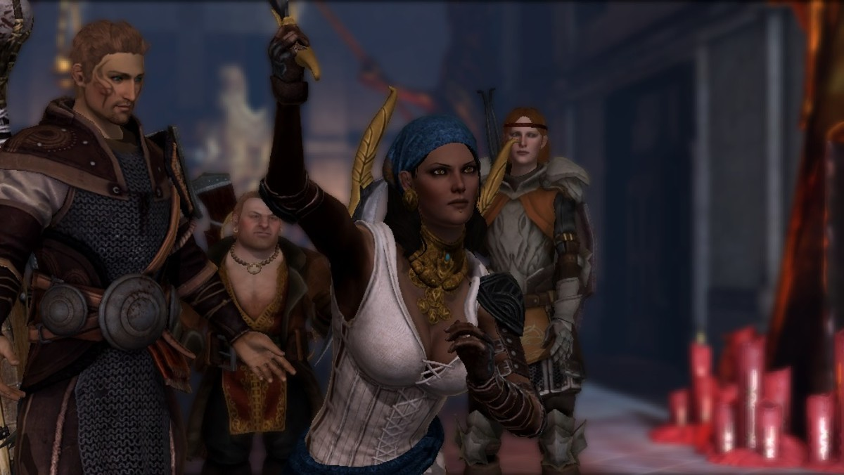 "Isabela throws a dagger in ""Dragon Age 2."""