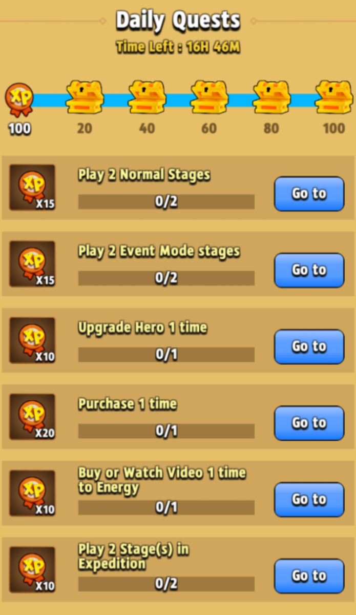 A screenshot of a normal day's list of activities.