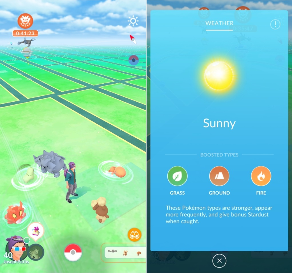 Slugma, Chikorita, Rhyhorn, and Trapinch are all being boosted by the weather.