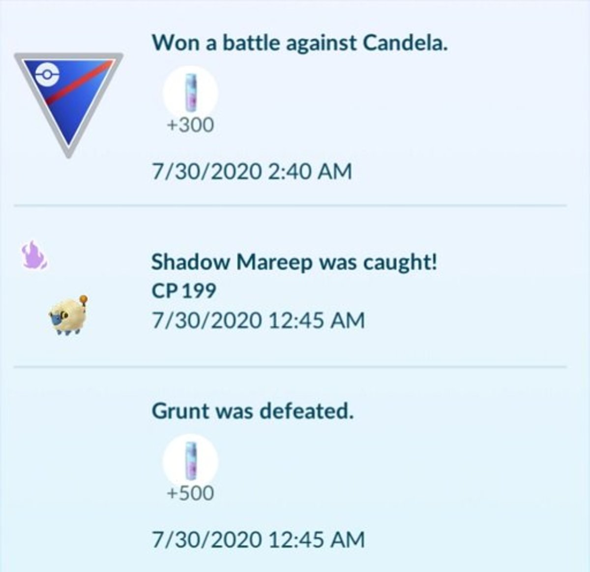 In-game journal entries depicting the stardust rewards from beating a Team Leader and a Rocket Grunt.