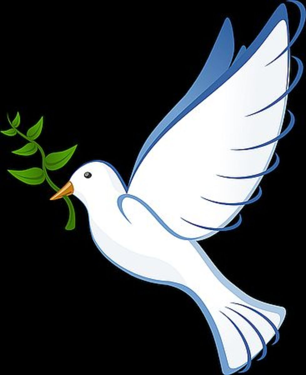 Dove with an olive branch is symbol of making peace.