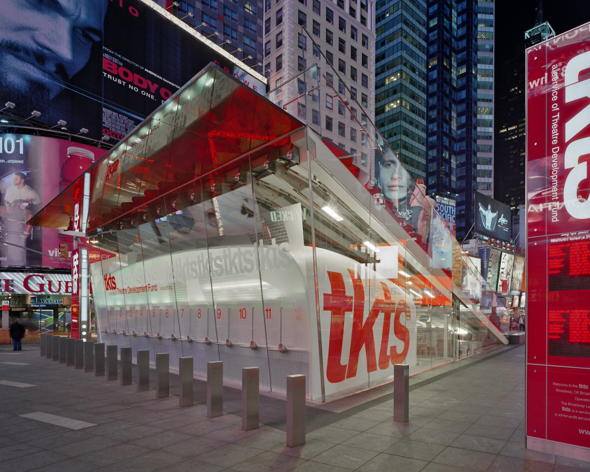 The TKTS Booth in Times Square is located underneath the giant red steps. Image from the website of Perkins Eastman, who designed the structure.