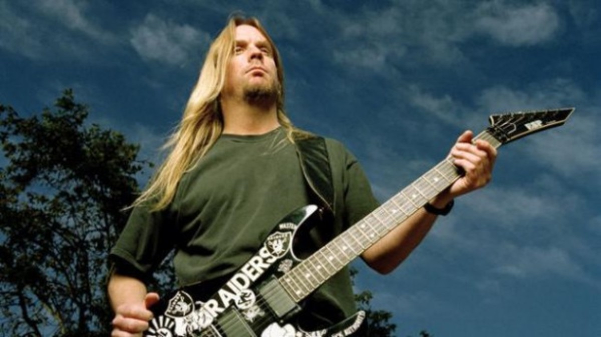 The late and great Jeff Hanneman of Slayer with one of his ESP guitars.