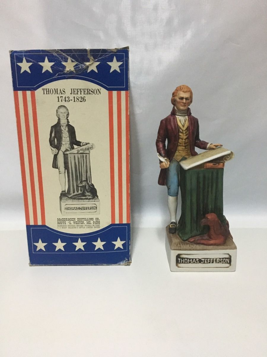 McCormick ceramic porcelain whiskey liquor decanter Thomas Jefferson. Vintage Thomas Jefferson The Patriots whiskey decanter with original box and packaging.
