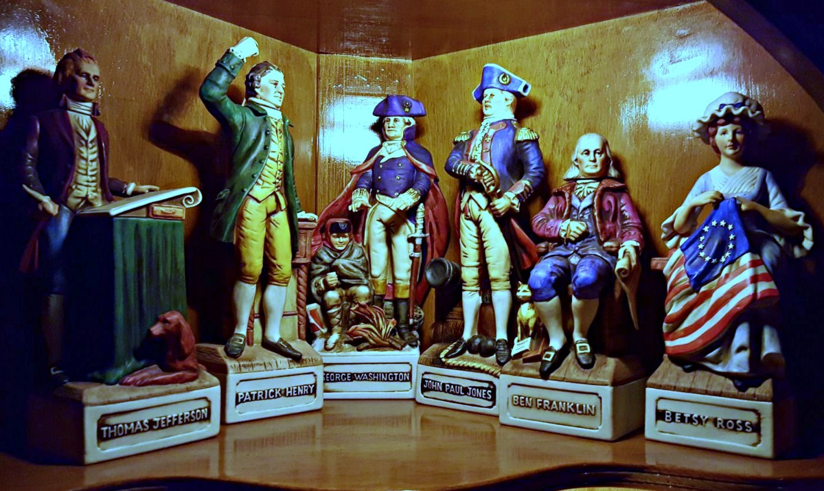 Here is a nice collection of McCormick Patriots Decanters ... You have Thomas Jefferson, Patrick Henry, George Washington, John Paul Jones, Ben Franklin, and Betsy Ross ...