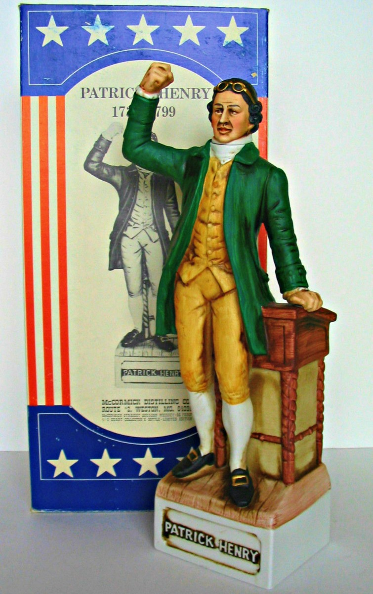 McCormick decanter of Patrick Henry (1736-1799) who was known as the orator of the Revolution and inspired others to accept the Declaration of Independence as written by his friend Thomas Jefferson with the help of Benjamin Franklin and John Adams.
