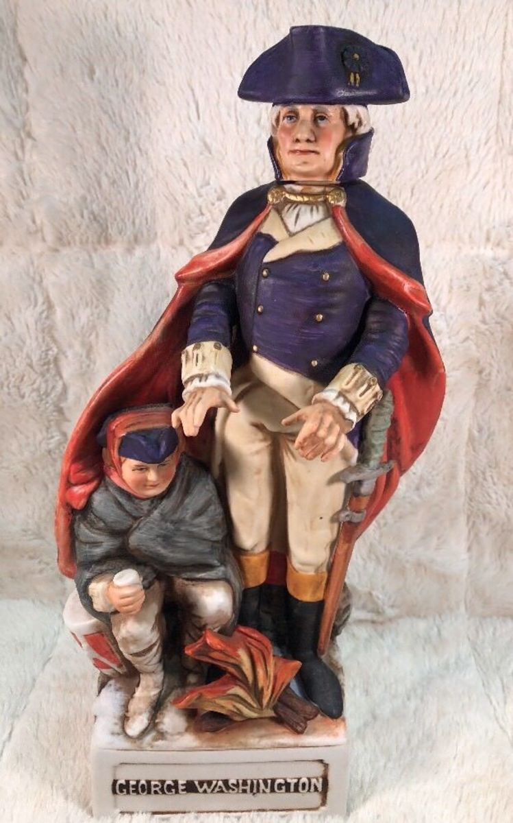 Vintage McCormick Americana GEORGE WASHINGTON PATRIOTS Decanter Porcelain Figure  ... Features George Washington and stands approximately 13 and a half inches tall. McCormick Distilled Co 4/5 quart collectors bottle.