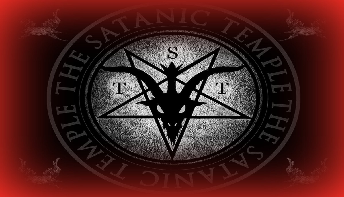 The logo of The Satanic Temple features a winged goat-headed devil within a pentagram.