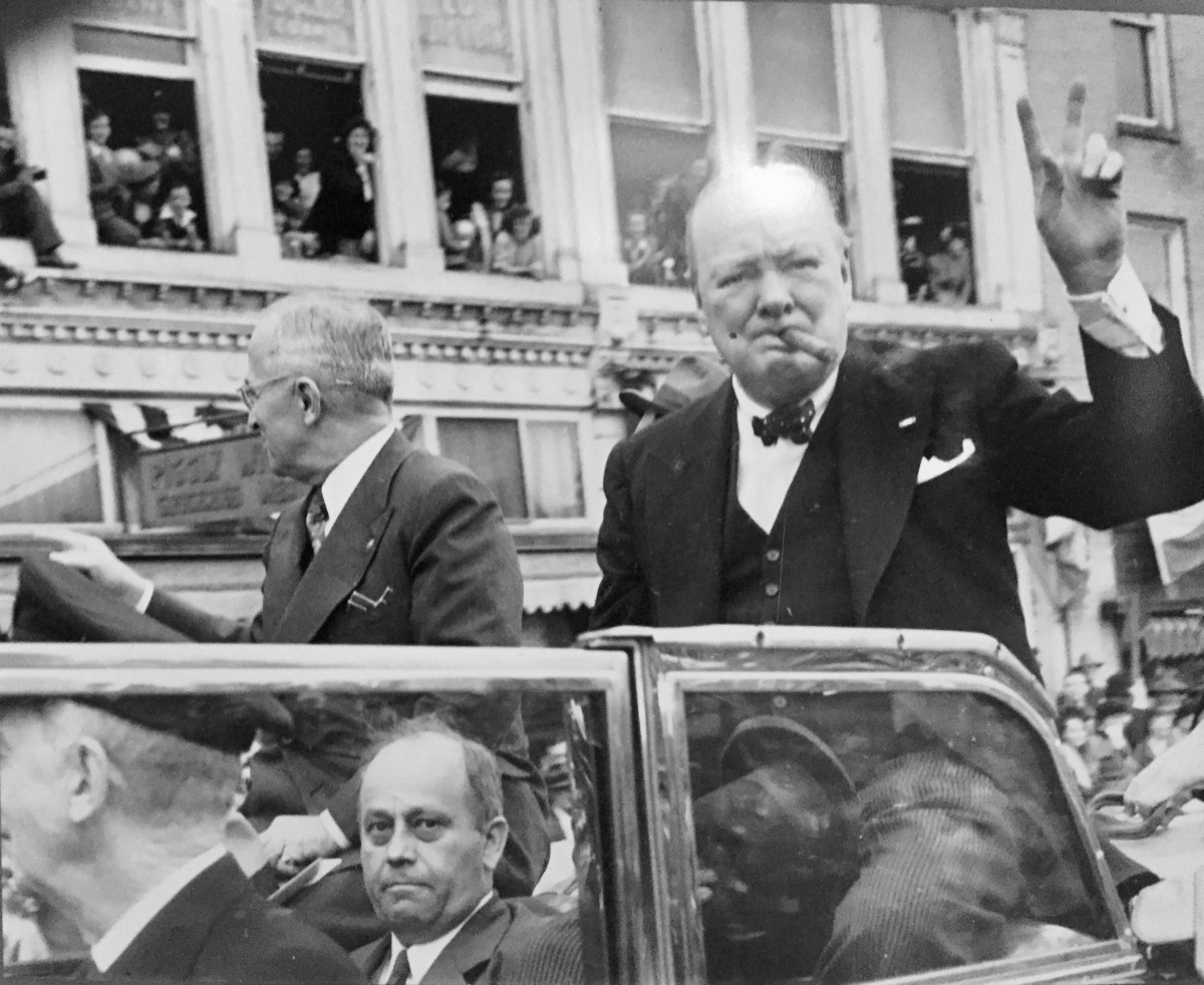 Truman and Churchill arrive in Fulton, Missouri, March 5, 1946