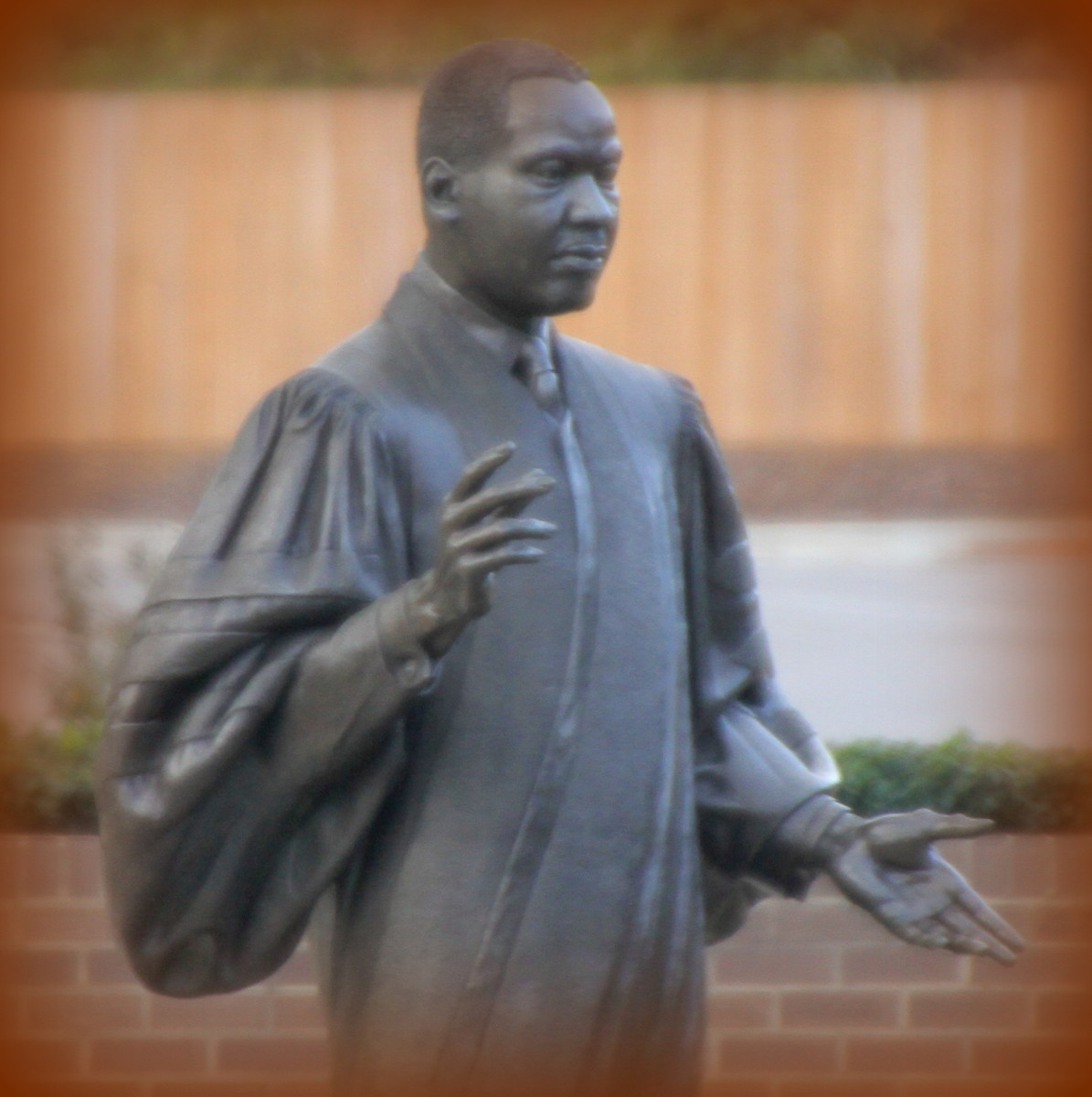 This statue graces the Martin Luther King Jr. Memorial Park in Raleigh, N