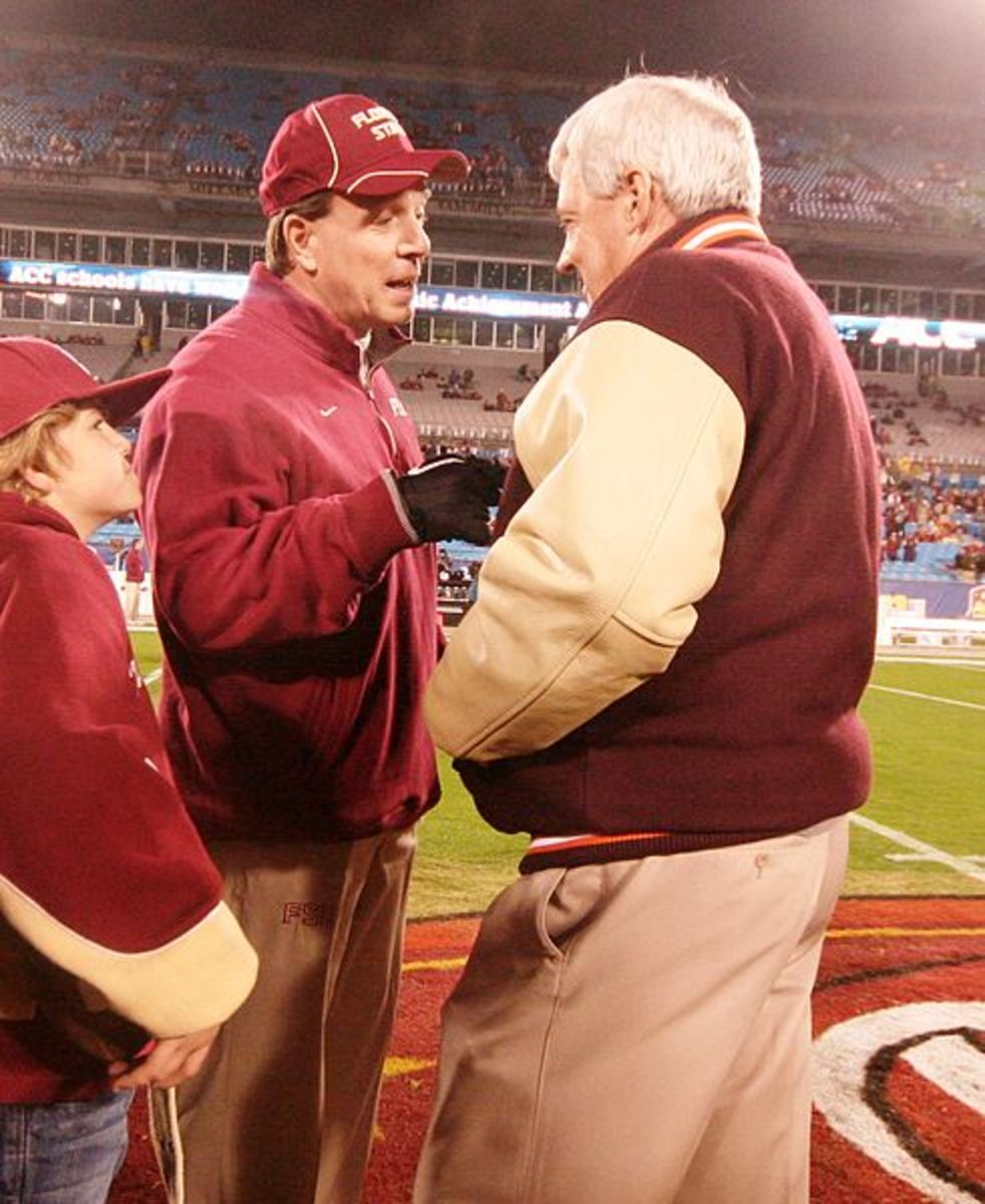 Jimbo Fisher in the  ACC Football Championship vs Florida State in 2010. From left, Fisher and former Virginia Tech coach, Frank Beamer.