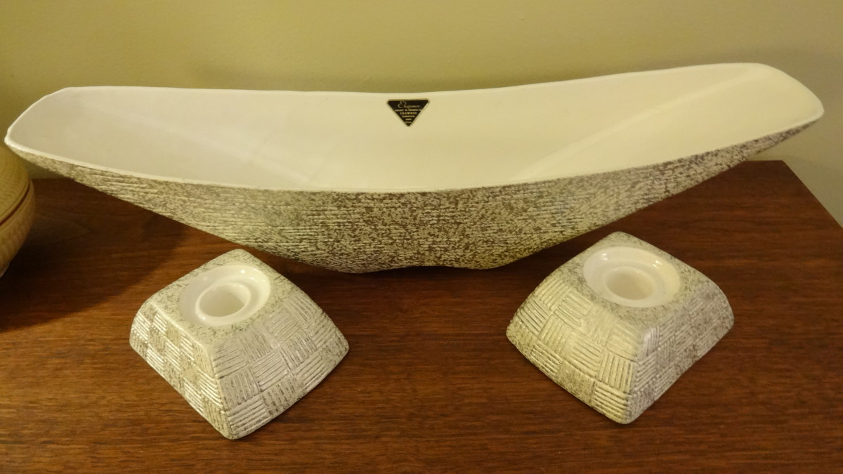 Elegance by Shawnee, 1950s console dish and candle holders