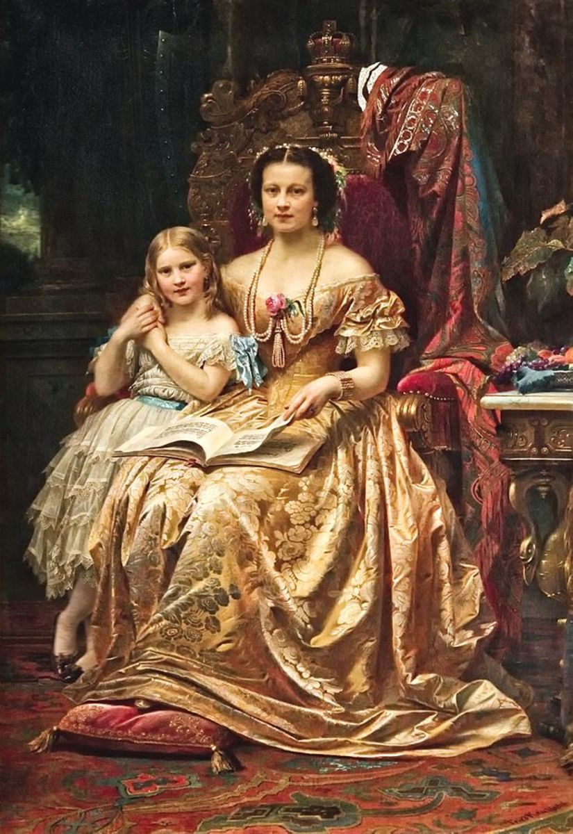 Marie of Saxe-Altenburg and her daughter Mary.