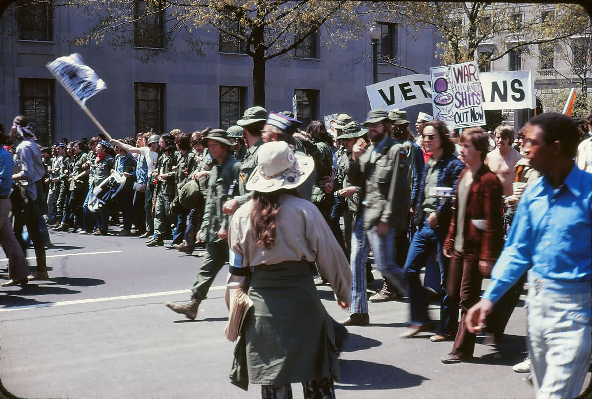 "Vietnam War protest in Washington D.C. April 24, 1971, and no, none of us ever got this far in our ""Anti-Draft/War Protest."""