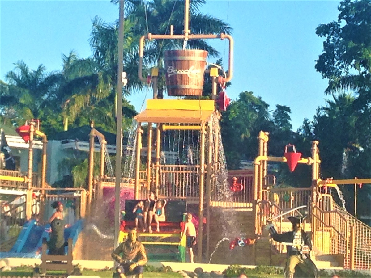 The sprinkler area at Beaches, Negril in Jamaica is fun for all ages.