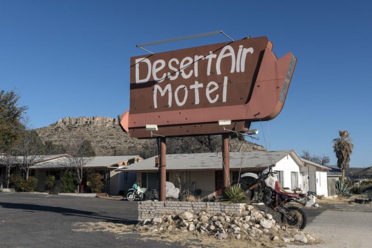 Sign for the Desert Air Motel in Marathon, Texas