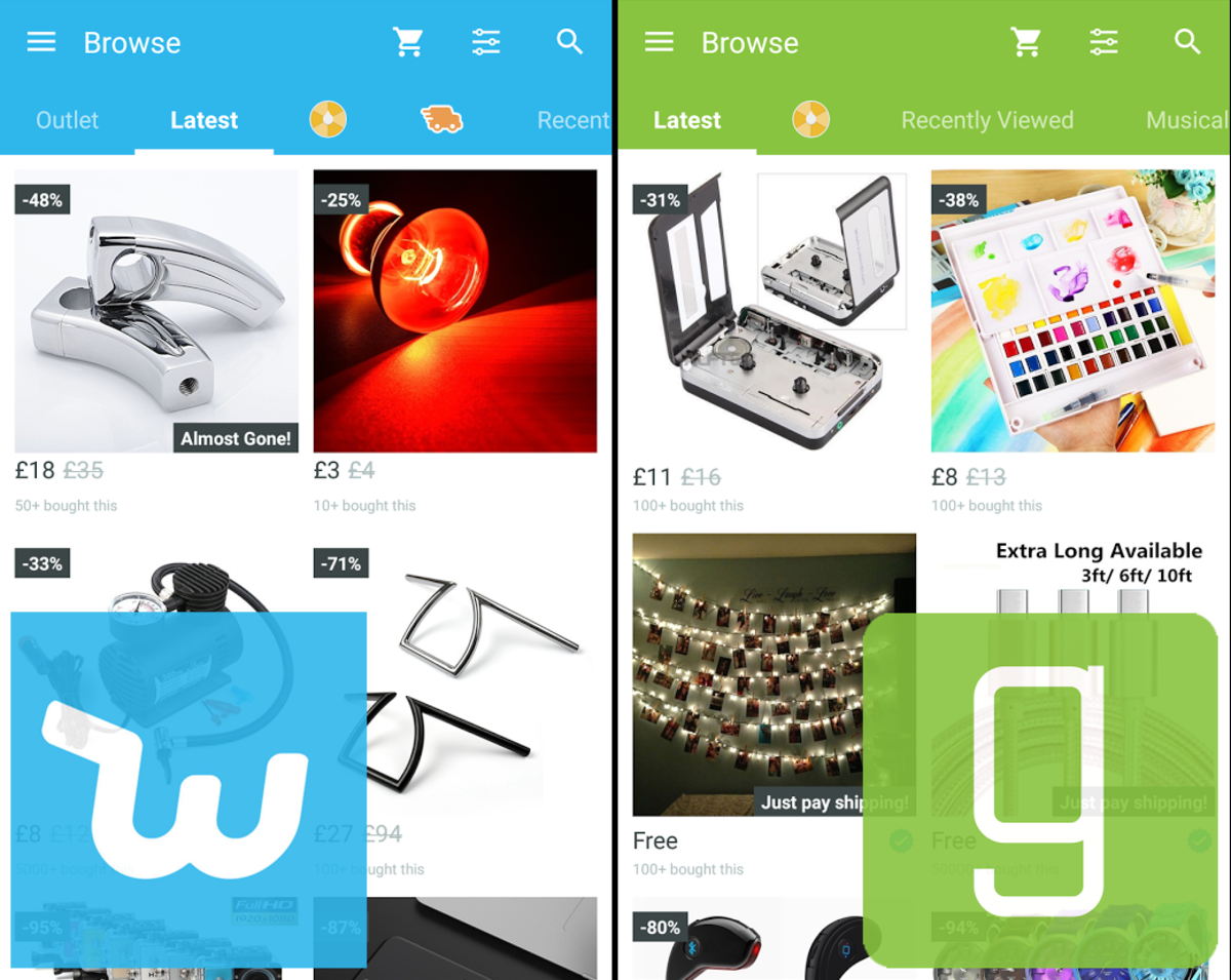 Wish - Shopping Made Fun (left) and Geek - Smarter Shopping are basically the same app with different colour schemes.