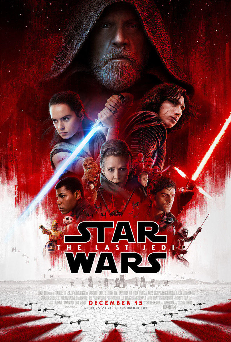 "The official theatrical one-sheet poster for ""Star Wars: The Last Jedi."""