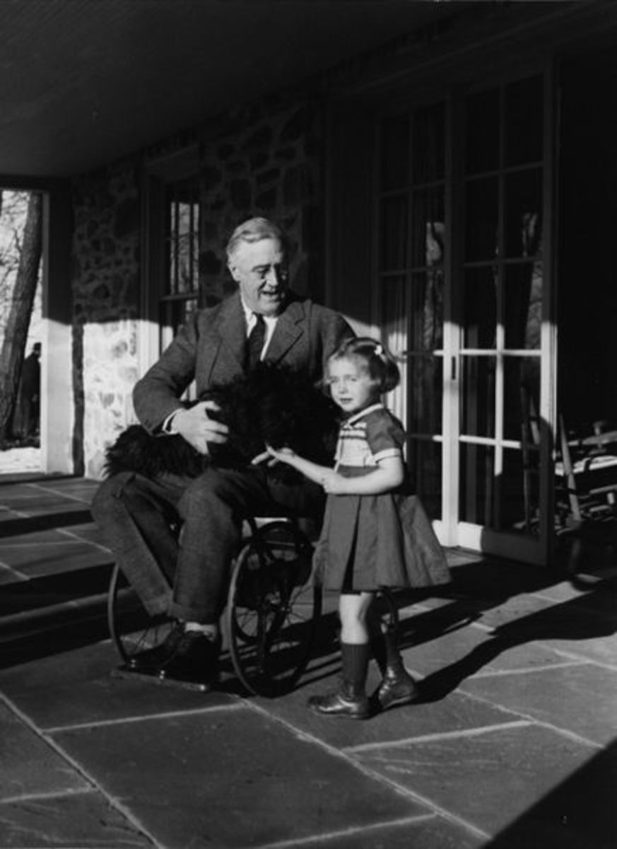 A rare photo of Franklin Delano Roosevelt in his wheelchair.