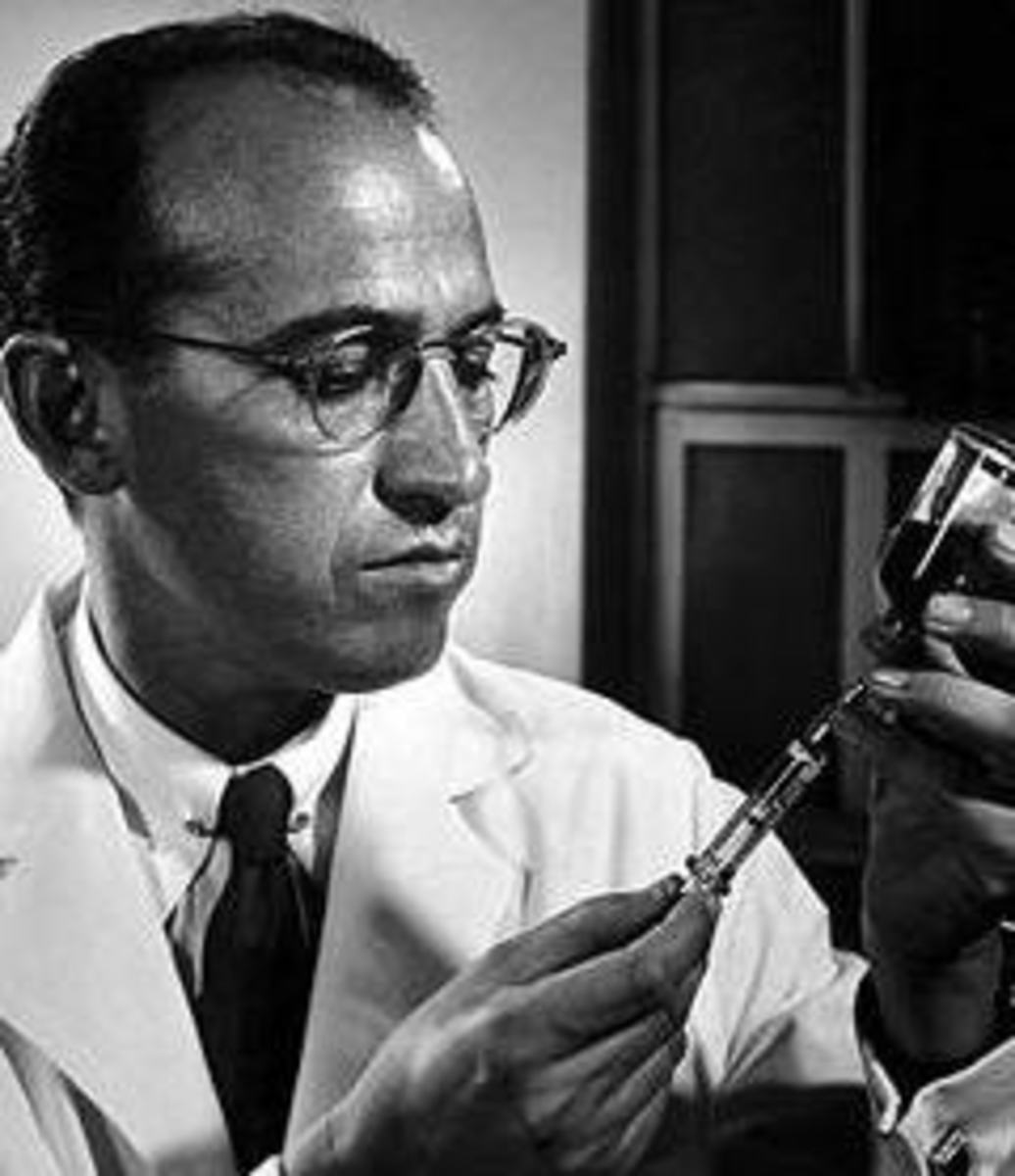 Jonas Salk, discoverer of one of the first successful polio vaccines.