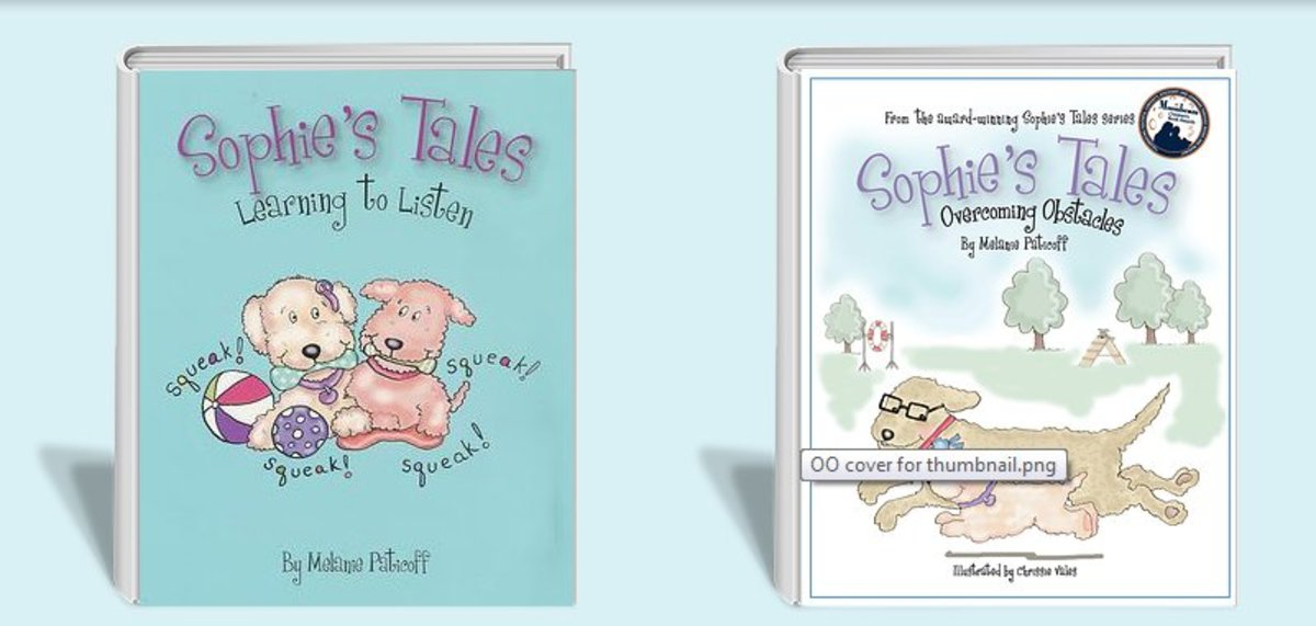 The Sophie's Tales series is about a cute white dog who wears cochlear implants.