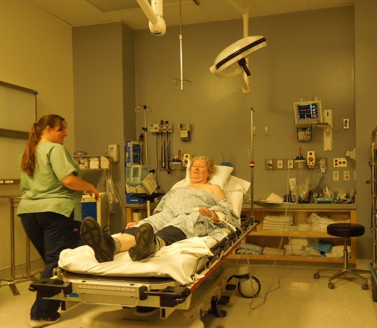Enjoying care at Twin Cities Hospital emergency room.