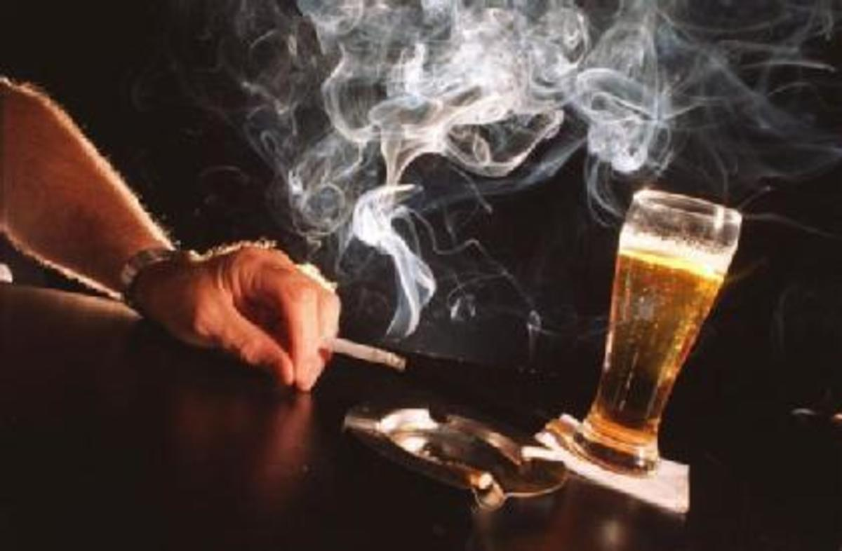Cigarette smoking and drinking can increase risk of cancer.
