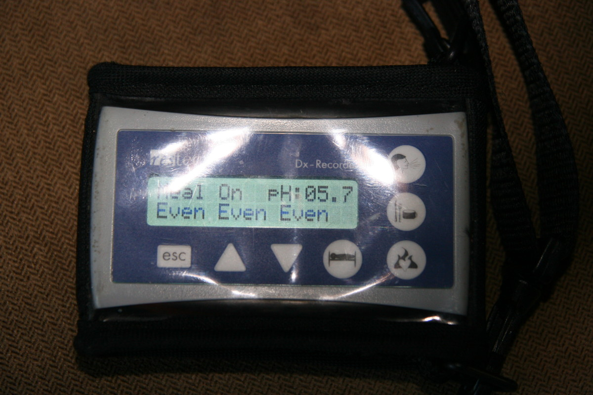 The recording device for the Restech pharyngeal pH probe: parents log events such as sleeping or eating on the device. A written log of eating and sleeping habits is also kept.