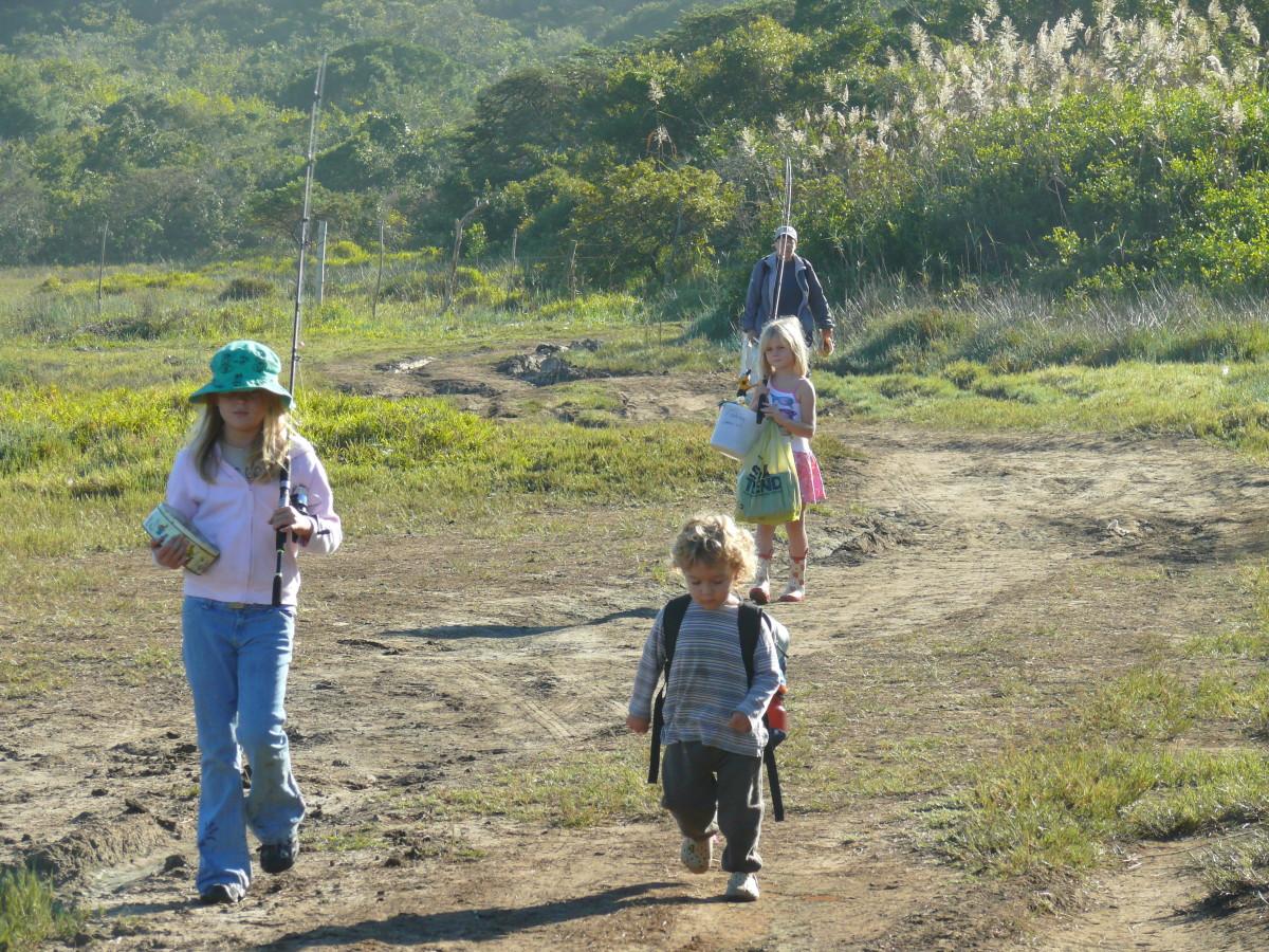 Sarah, Leah and Zak on way to fishing hole on Cintsa River