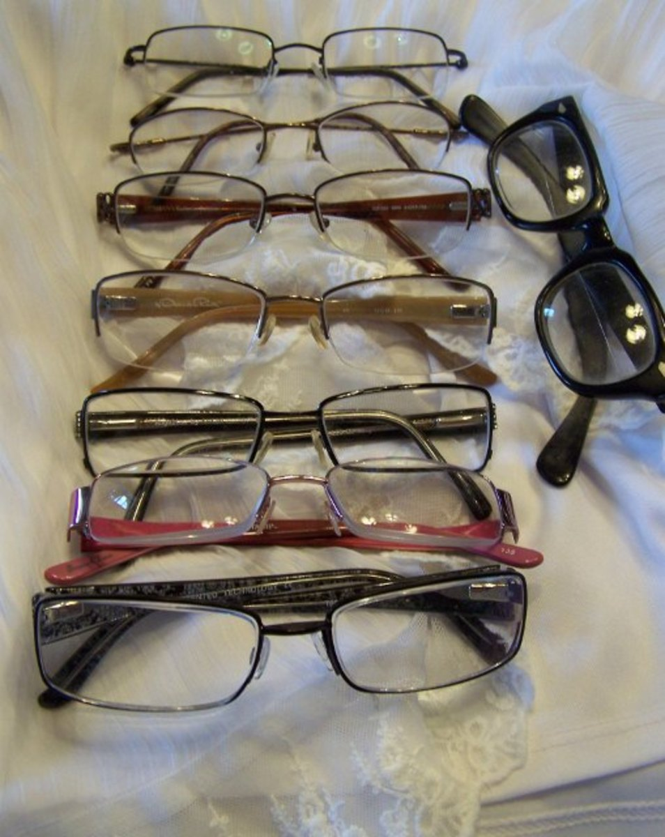 Many pairs of glasses.