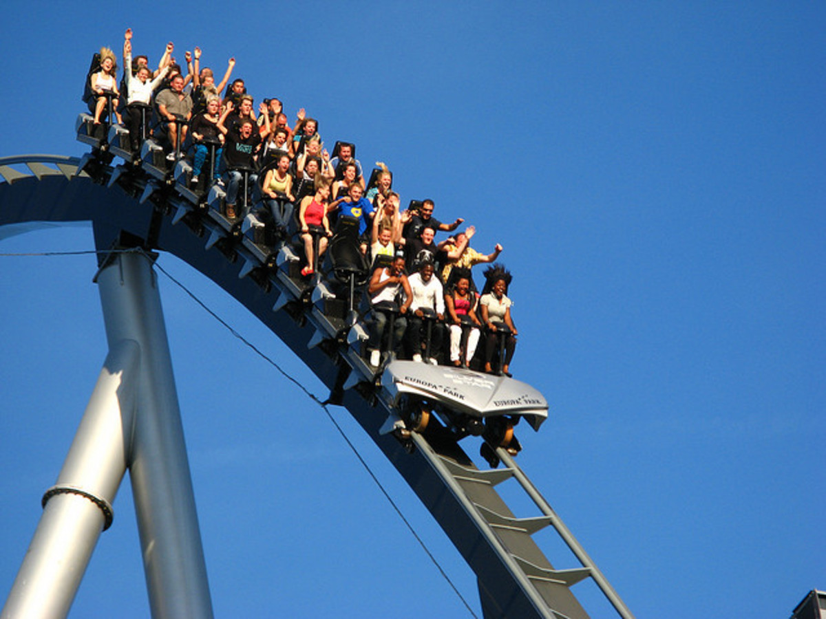 Drops such as this one in a roller coaster in Europa Park can cause a tingling feeling in your stomach.