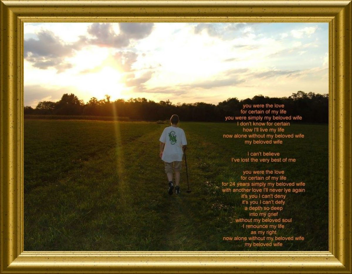 "The photo was taken on a section of the Appalachian Trail in Pennsylvania just a few months before Sandy passed away. The lyrics are to a song by Natalie Merchant titled, ""Beloved Wife."" Click on the image to make it stand out."