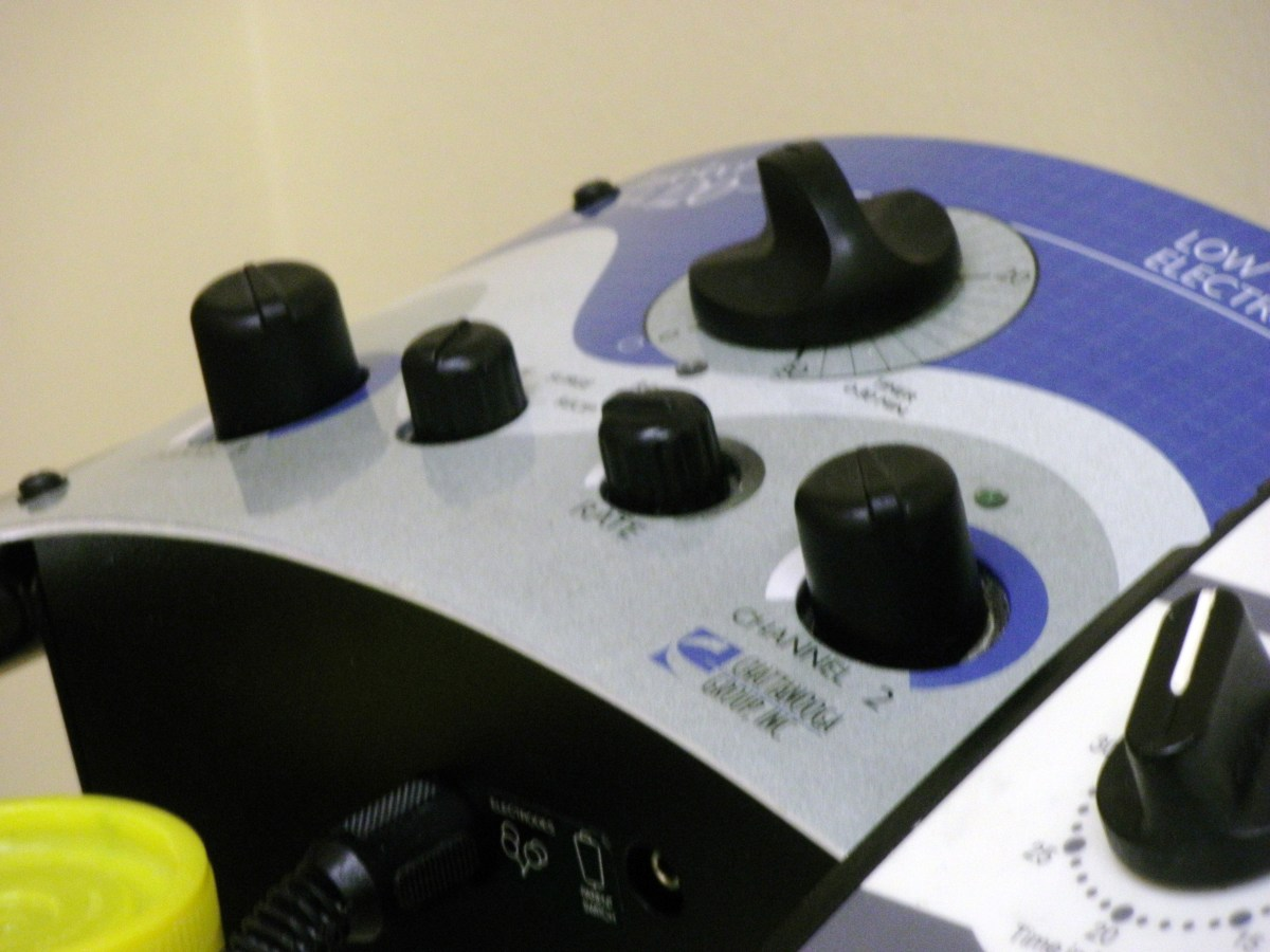 This machine provides electro stimulation therapy for your foot.