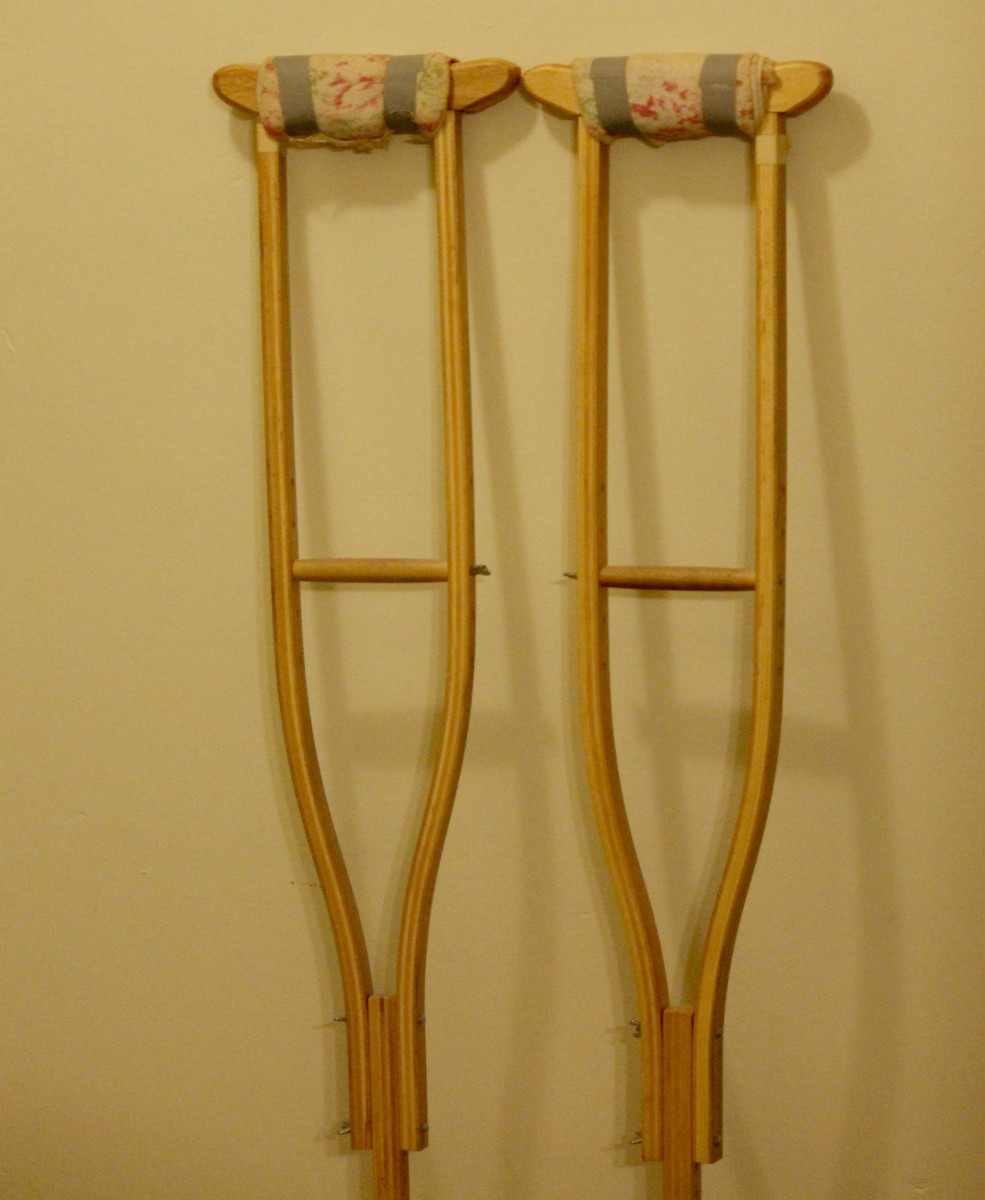My crutches with the towel padding.